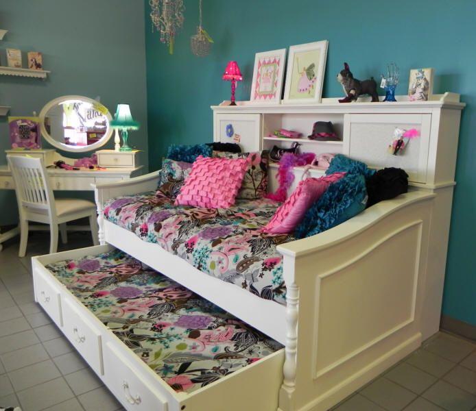 White Bed With Bookshelf Octavia Bookcase Day