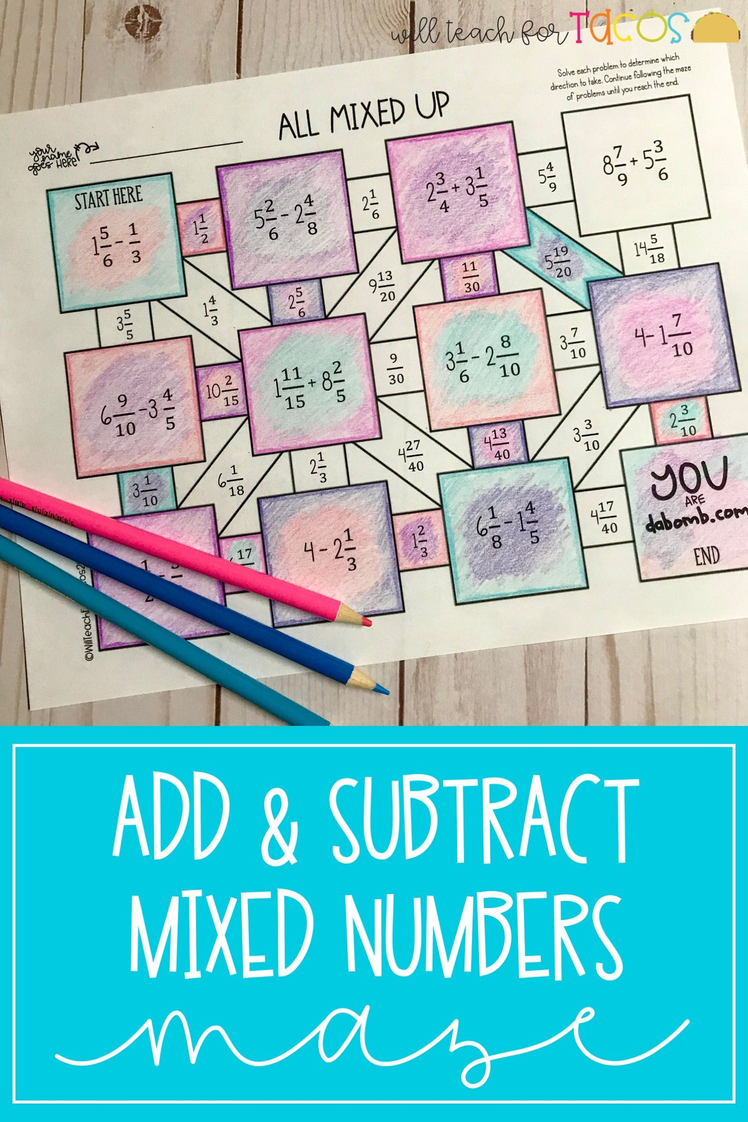Add And Subtract Fractions And Mixed Numbers Maze 5 3h And