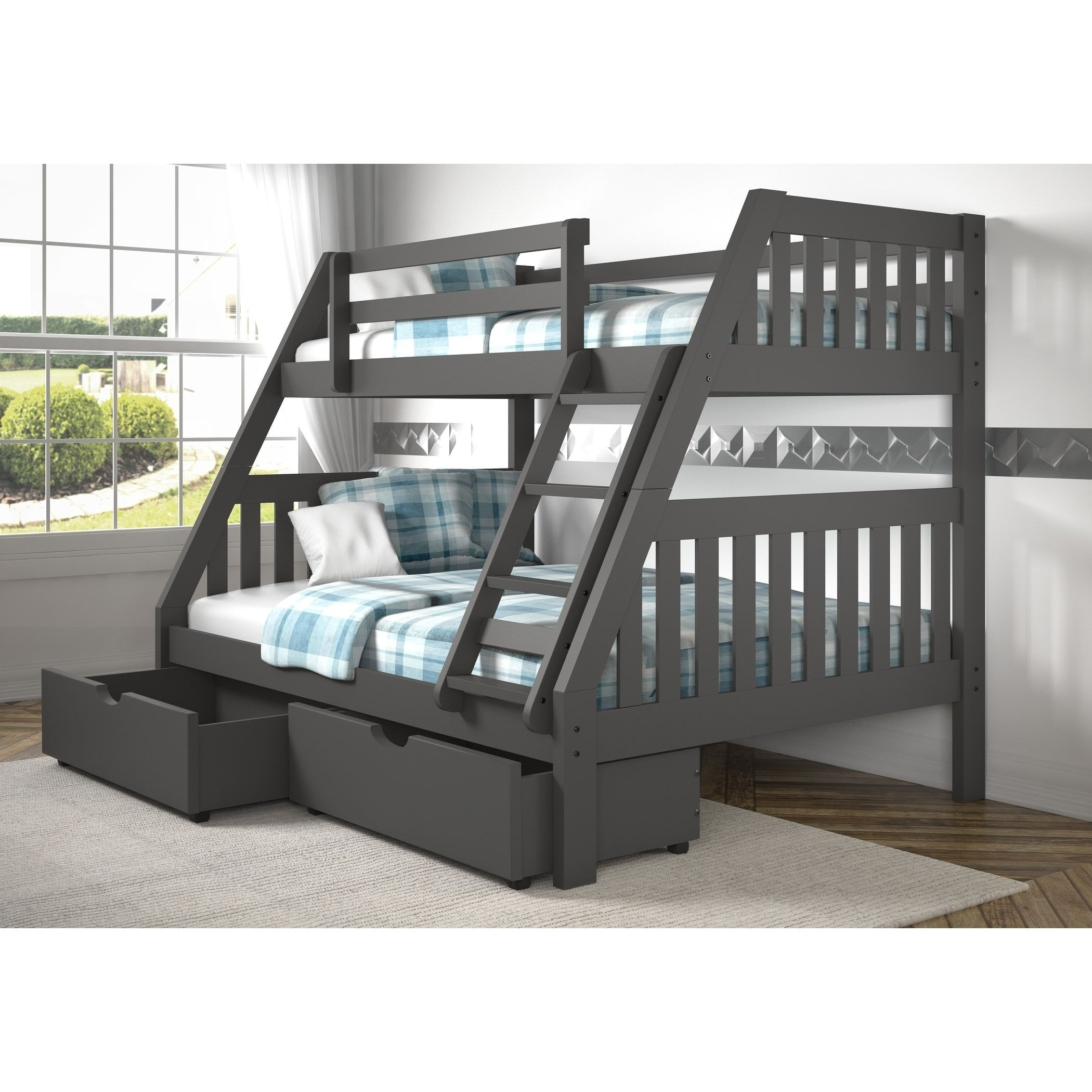 Tuffing loft bed ideas  Twin over Full Mission Bunk Bed in Dark Grey Finish Storage Bed