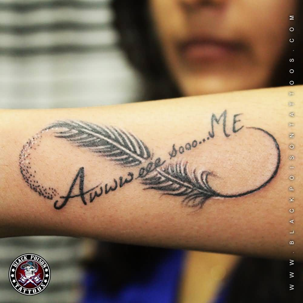 Wonderful Feather And Infinity Symbol Tattoo On Arm Sleeve For Girls