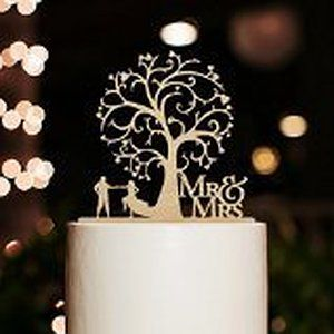 Mr and Mrs Cake Topper Wood Wedding Cake Topper Funny Bride and Groom with Blossom Tree Rustic Cake Topper