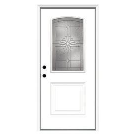 Reliabilt Laurel Decorative Glass Right Hand Inswing Fiberglass Primed Entry Door Common 36 In X 80 In Actual Entry Doors Fiberglass Entry Doors Glass Decor
