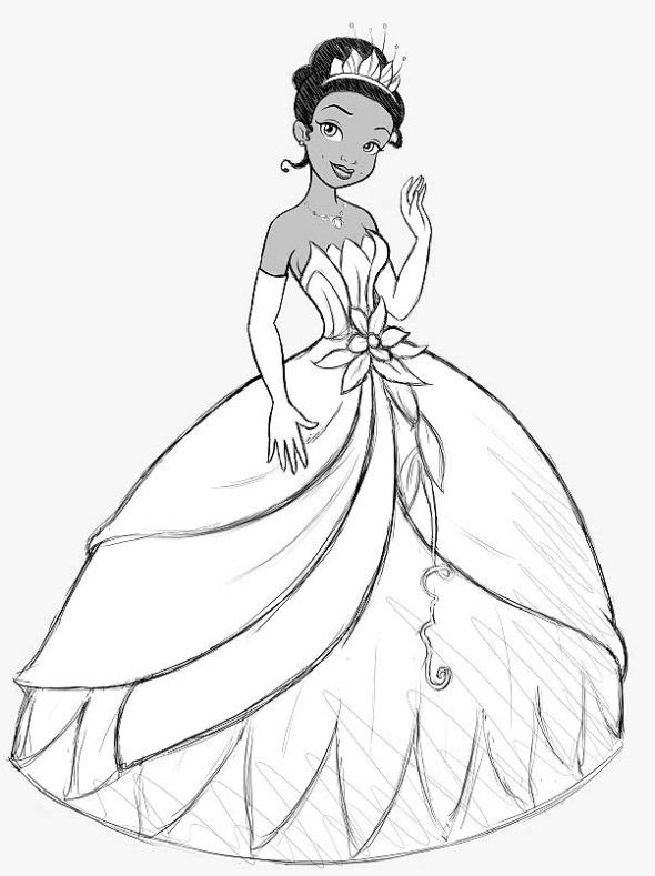 Disney Tiana Drawing | Para guardar el dibujo en tu disco duro ...