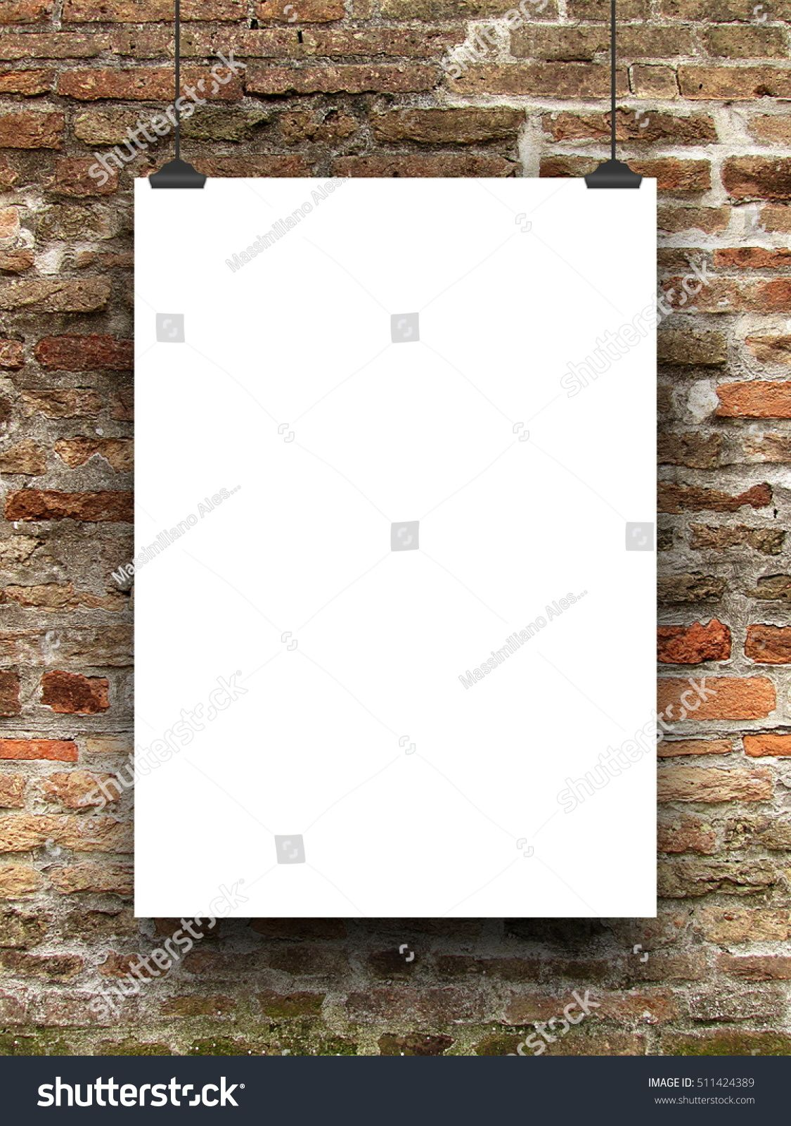 Single #blank #frame hanged by #clips against #old #weathered #brick ...