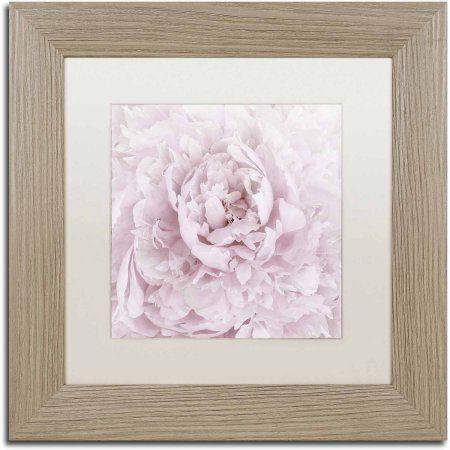 Trademark Fine Art 'Pink Peony Flower' Canvas Art by Cora Niele, White Matte, Birch Frame, Size: 16 x 16, Multicolor