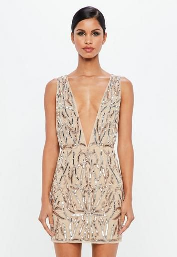 139ce5bb44 Peace + Love Nude Embellished Plunge Mini Dress