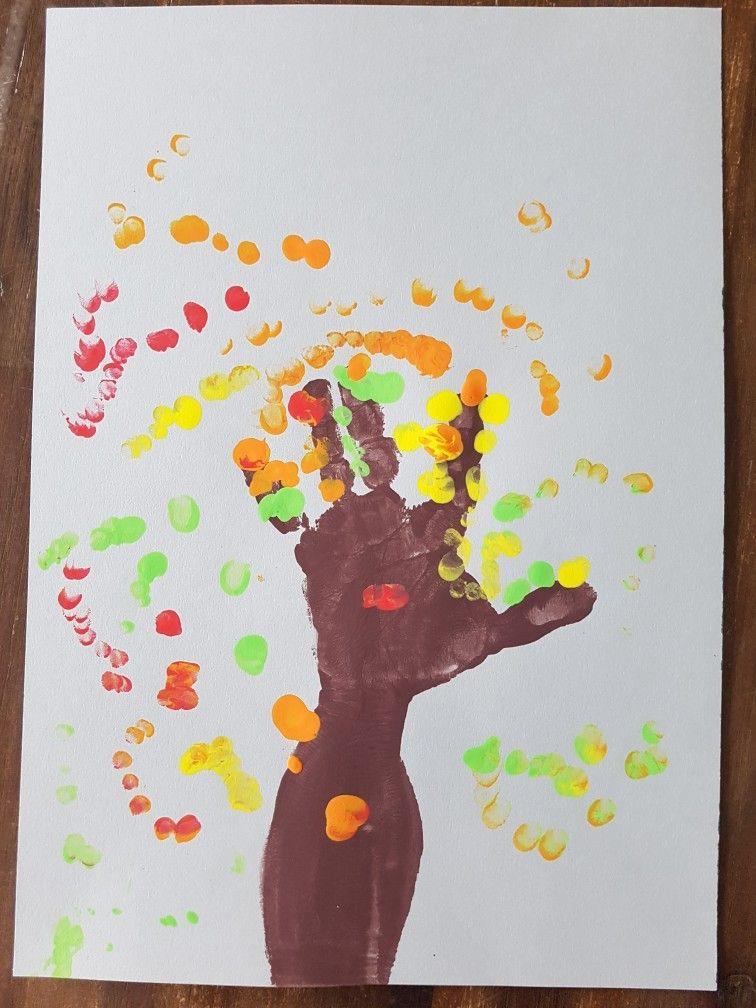Quatang Gallery- Boom Verven Boomstam Geverfd Van Een Hand En Arm De Blaadjes Geverfd Met Vingertopjes Herfst Halloween Knutselen Met Peuters Thema