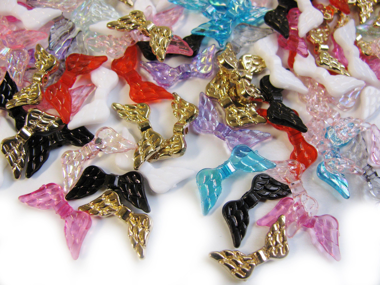 100 Stück Perlen Blume Zwischenperle Bead Acryl 6mm x 4mm