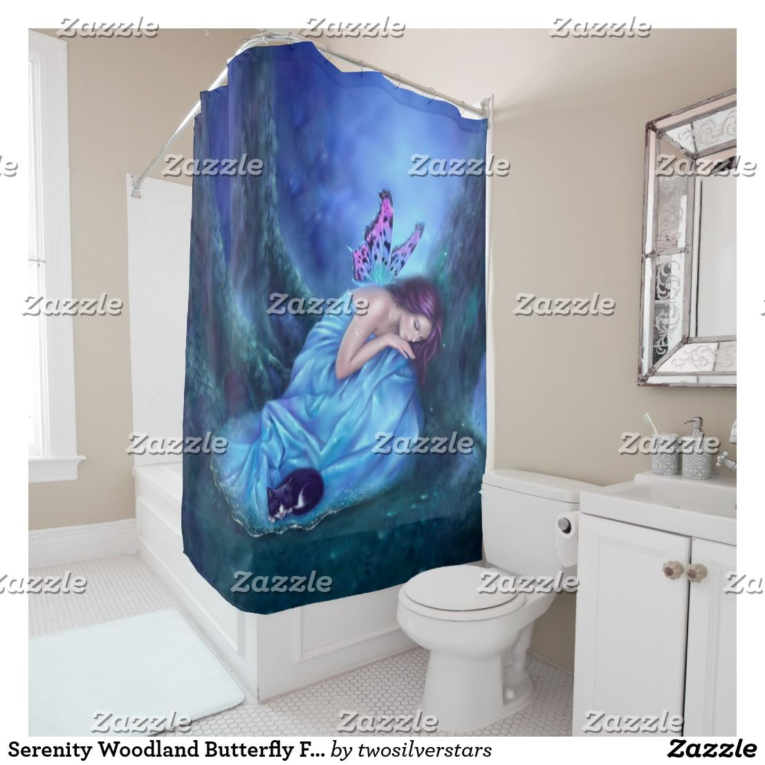 Serenity Woodland Butterfly Fairy Shower Curtain | Bath shower and Bath