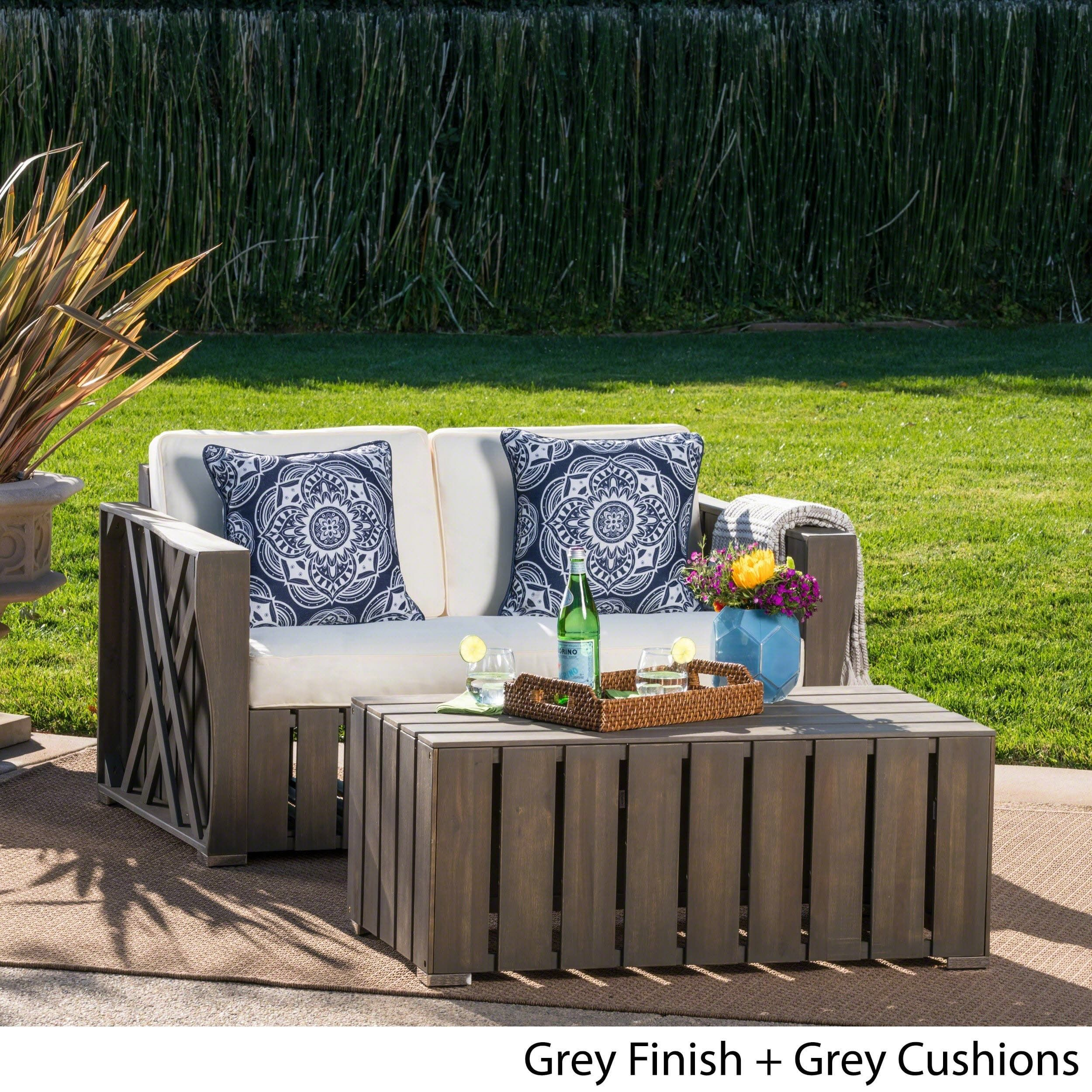 Cadence outdoor 2piece acacia wood loveseat and coffee