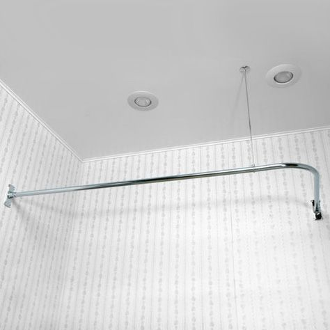 L Or 90 Degree Shower Curtain Rods With Images Corner Shower
