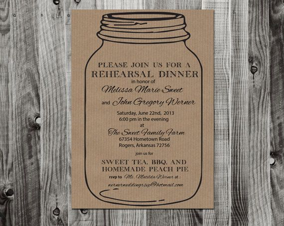 Mason Jar Rehearsal Dinner Invitation Printable By Lifewelllived Mason Jar Wedding Invitations Mason Jar Invitations Mason Jar Wedding Invitations Template