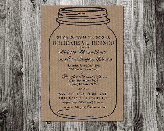 Mason Jar Rehearsal Dinner Invitation printable by lifewelllived - printable dinner invitations
