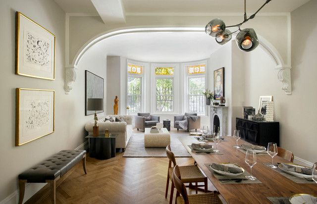 Transitional Living Room By Tanya Capaldo Designs Boston Brownstone Before After 2
