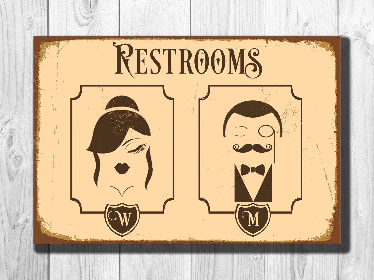 Charming Restrooms Sign   Vintage Style Aluminum Composite Metal Restroom Sign  Toilet Sign Male Female Restrooms Sign WORLDWIDE SHIPPING By  ClassicMetalSigns On Etsy