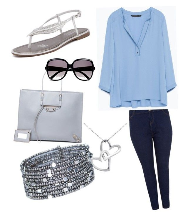 """""""Skinny jeans with blue blouse"""" by shaista-bismilla on Polyvore featuring Zara, Balenciaga, Chloé and Blue Nile"""