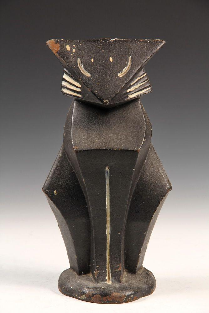 CAST IRON DOORSTOP - Art Deco Seated Cat