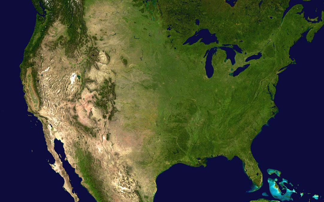 North America satellite map | America, United states, Geography on map of alaska superimposed over usa, map of america at night from space, map of north uist scotland,
