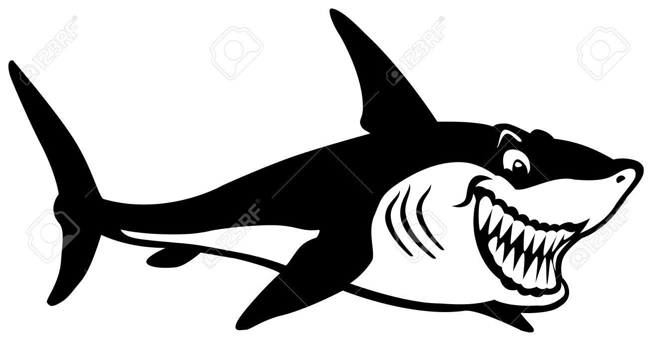 Tiburón de historieta. Blanco y negro. Fondo blanco. | Animales ...