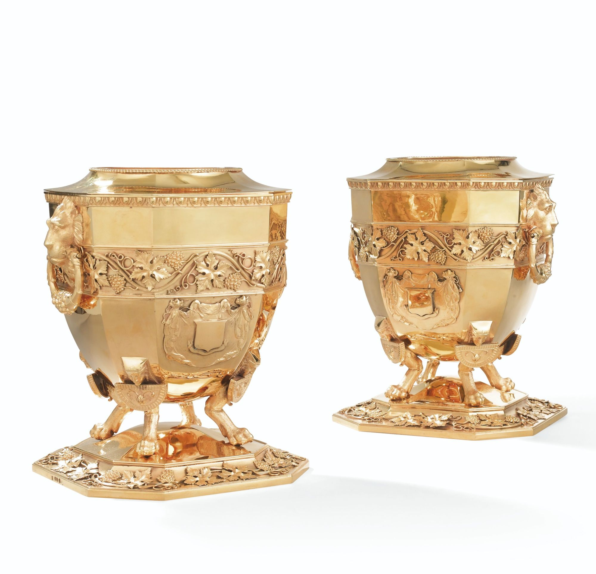 TWO LARGE ENGLISH SILVER-GILT WINE-COOLERS FORMING A PAIR