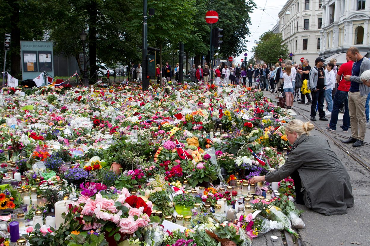Flowers placed in tribute to the victims of the bombing and shooting massacre that took place July 25, 2011 in the city of Oslo, Norway.