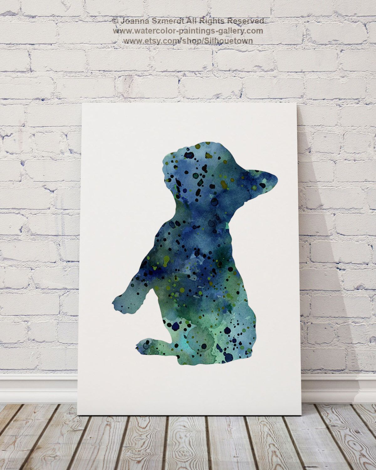 Sapphire French Bulldog Giclee Fine Art Print Colorful Dog
