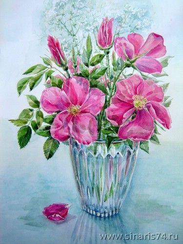 Floral Bouquet Iin Vase Watercolor Drawing Watercolor Vase