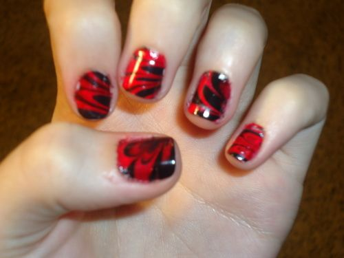 Wonderful Water Nail Art Red Black Water Nails Art Fixstik