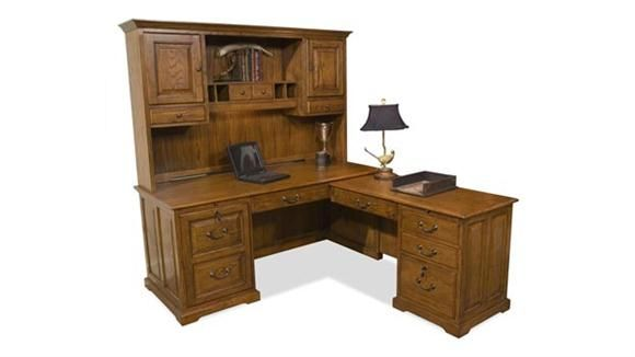 Amazing L Shaped Computer Desk With Hutch Warm Oak By Riverside   1 800 460