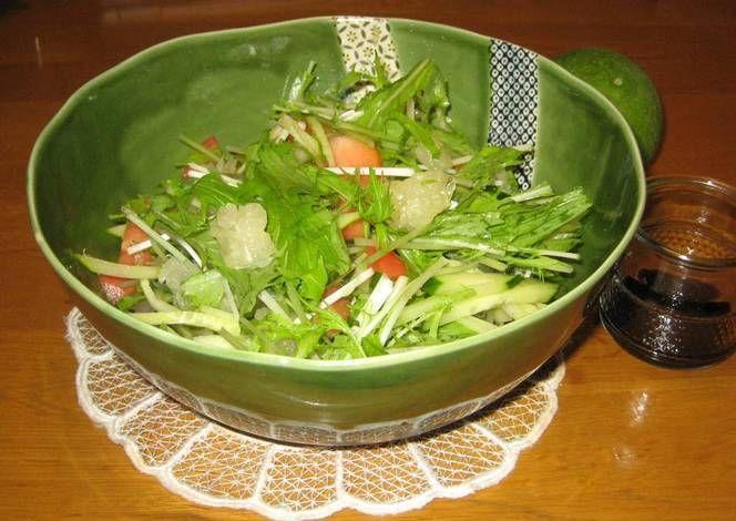 Mizuna Salad With Kabosu Citrus Balsamic Dressing Recipe By Cookpad Japan Recipe Balsamic Dressing Recipe Produce Recipes Recipes