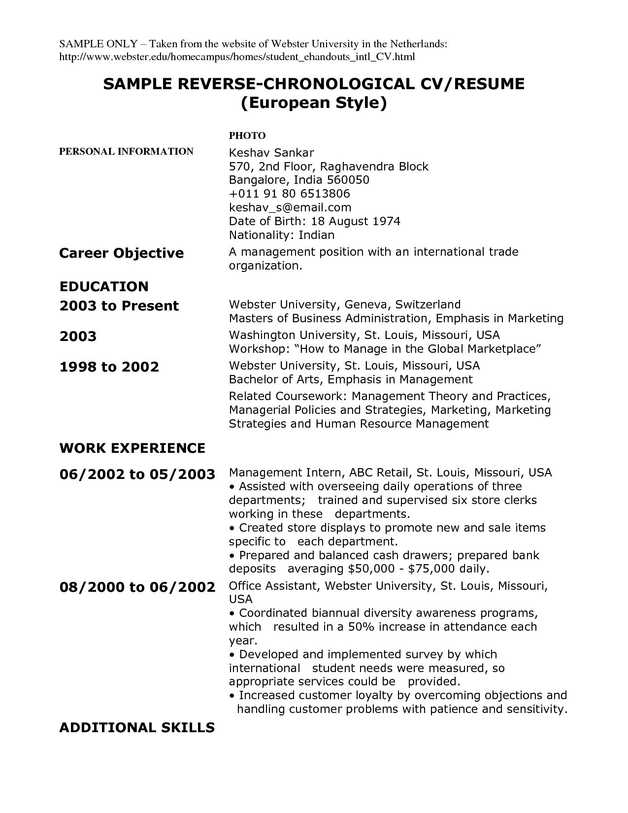 Resume Examples  Definition Of Functional Resume
