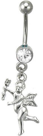 Clear Cupid Love Angel CZ Dangle Belly Navel Ring