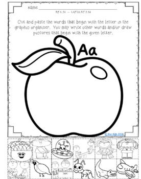 ABC Graphic Organizers {Cut and Paste} for Kindergarten