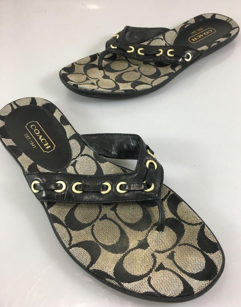 06504b22c67e Coach Womens 8.5 M Marciella Black Leather Signature Flip-Flops Thong  Sandals  Coach  FlipFlops  Casual