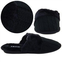 Izod Black Cable Knit Slippers For Women Sslippers 76407