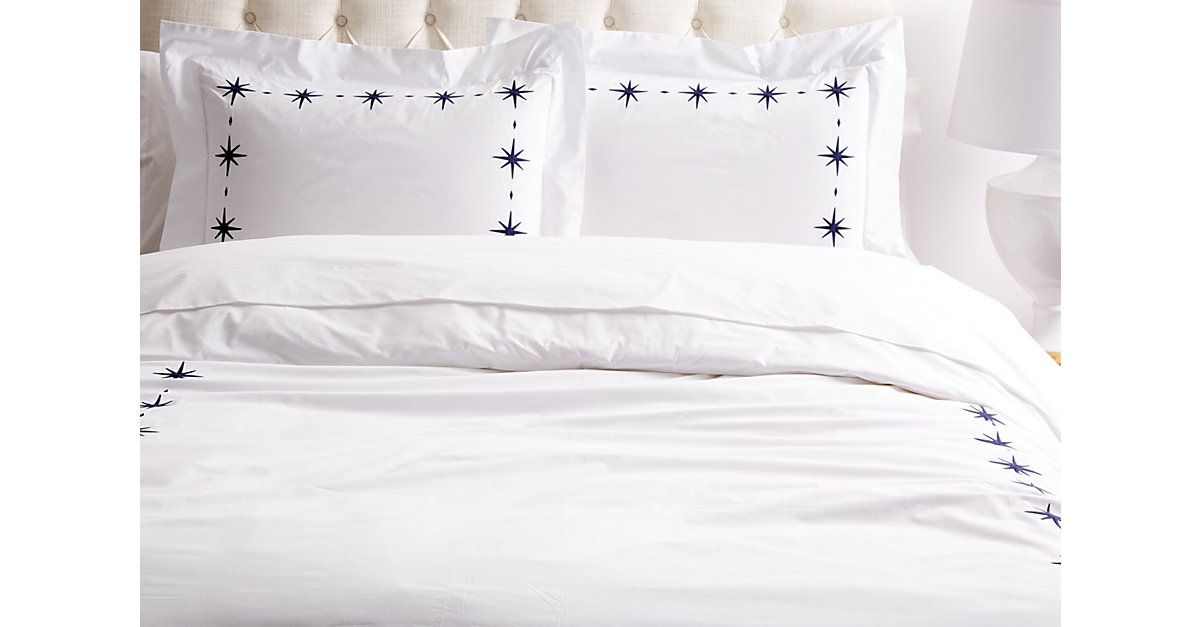 Crafted Of Crisp White Cotton Percale And Embroidered With Star Designs In Navy Duvet Sets Navy Duvet Covers Duvet