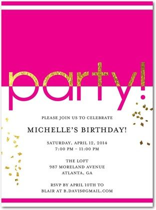 Glam Party Adult Birthday Party Invitations In Black Or Cobalt