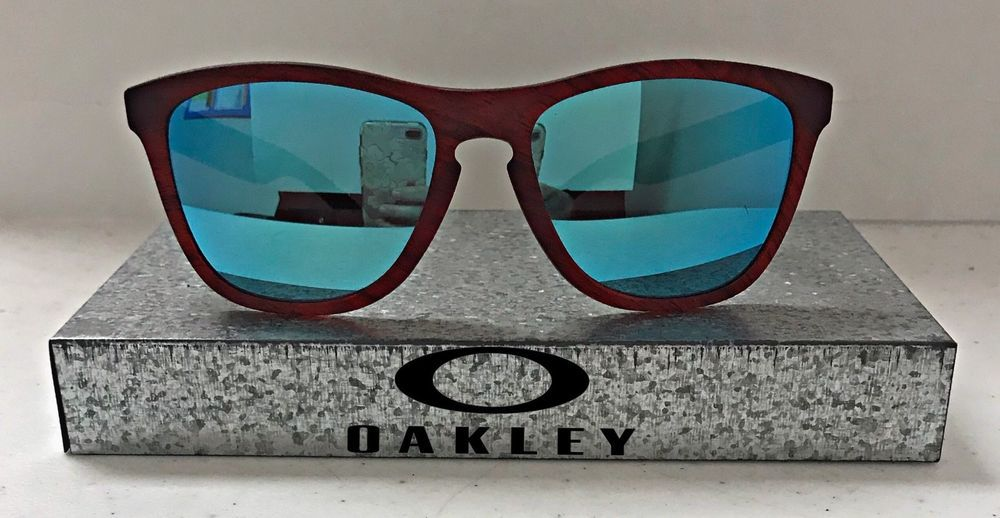 7661a1d1de New Oakley Frogskins Sunglasses Red Woodgrain Frame Sapphire Iridium  OO9013-B755  fashion  clothing  shoes  accessories  unisexclothingshoesaccs  ...