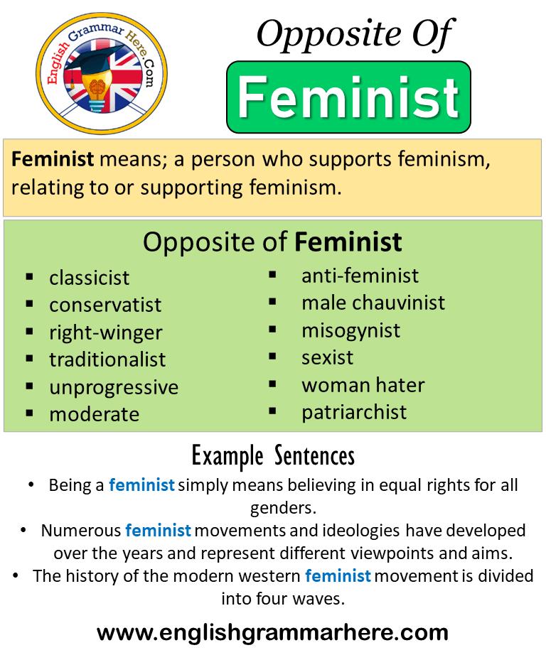 Opposite Of Feminist Antonyms Of Feminist Meaning And Example Sentences Antonym Opposite Words Contradict Each O Opposite Words Opposite Of Feminist Antonyms