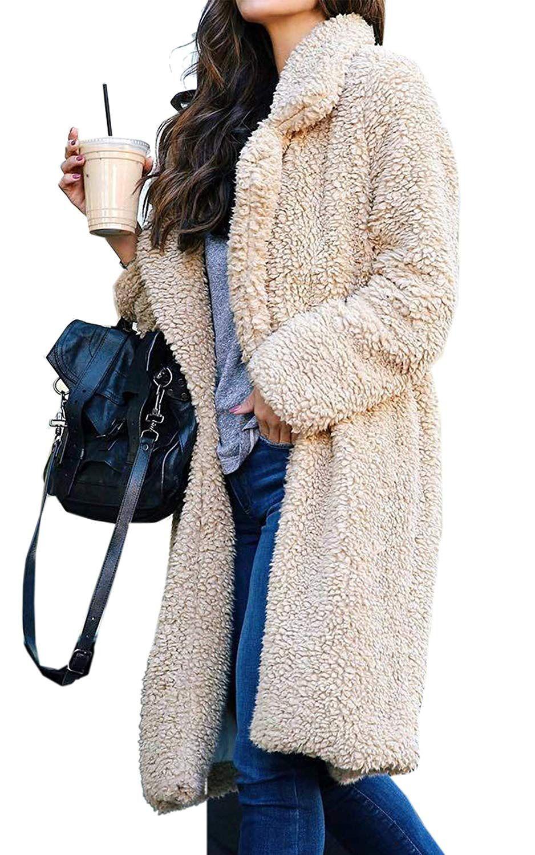 Women Coat Fuzzy Fleece Lapel Open Front Long Cardigan Parka Warm Winter Pockets Outwear Jacket