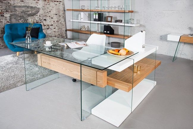Dieser Design Schreibtisch Ist Multifunktional! Entdecken Sie Seine Vielseitigen  Einsatzmöglichkeiten! Edle Glas Holz Komposition