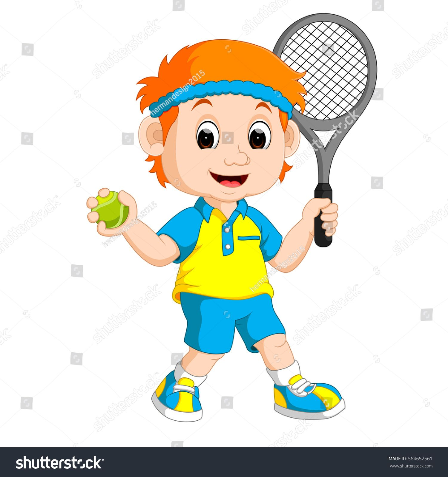 Vector Illustration Of A Boy Playing Lawn Tennis Lawn Tennis Boys Playing Tennis