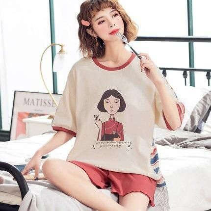 new pajamas womens summer thin short sleeve cotton home clothes little girls college style sweet and lovely two piece set summ