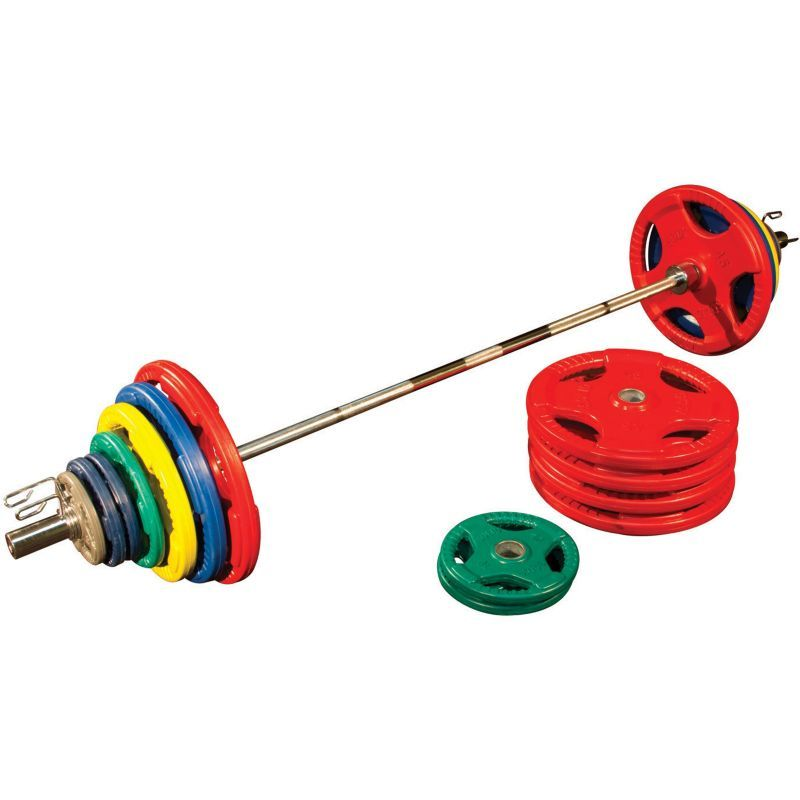 Body solid 500 lb bumper set with bar yellow olympic