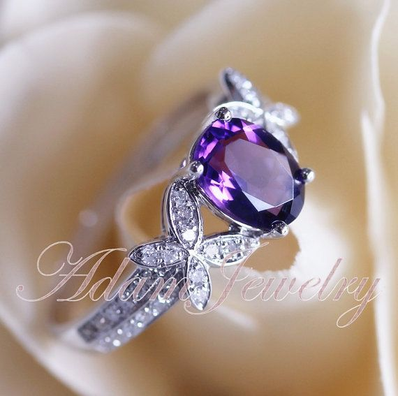 Hey, I found this really awesome Etsy listing at https://www.etsy.com/listing/186253678/unique-6x8mm-dark-amethyst-ring-pave