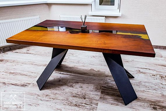 At The Table Or On The Table Items Similar To Table Wood Epoxy Resin River Table Table River Slabs Table Live Edge Table Dining Table Loft Wooden Table Table Wood Metal On