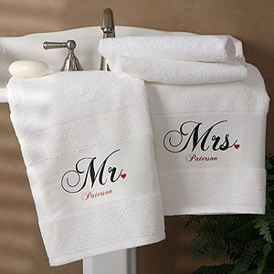 Mr And Mrs Collection Personalized Bath Towel Set Of 2 Personalized Bath Towels Personalized Towels Embroidered Towels