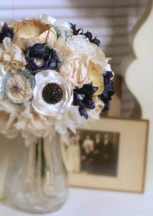 Another Cute Fabric Bouquet....I like the anemone looking flower ...