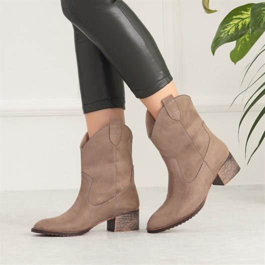 Mokosa Suet Vizon Renkli Kisa Topuklu Bot Suede Beige Heels Boots Western Kovboy Suet Bot Topuklu Topuklular Bot Siyah Suet