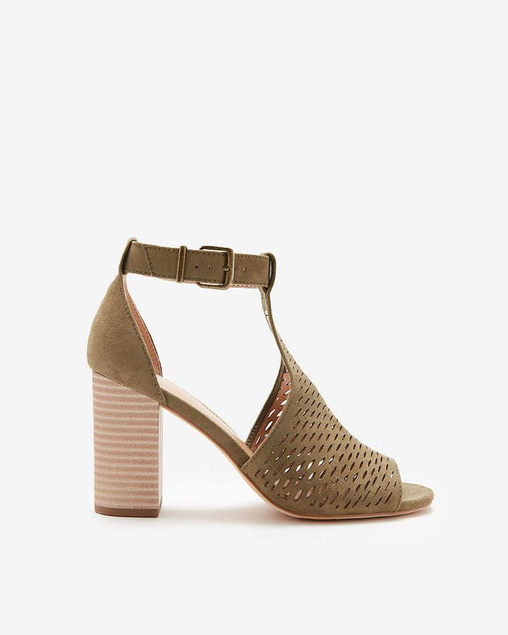 4af6b95f39c2a Express Perforated Ankle Strap Open Toe Booties